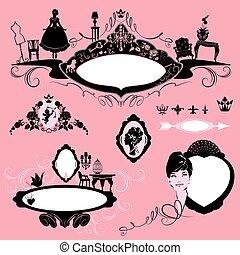bordas, com, glamour, acessórios, mobília, menina, retrato,...