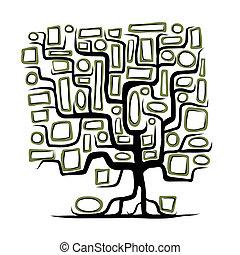 bordas, conceito, árvore, vazio, família
