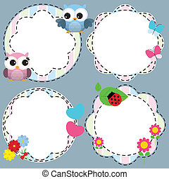 bordas, cute, flores, pássaros