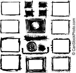 bordas, desenhado, jogo, grunge, mão