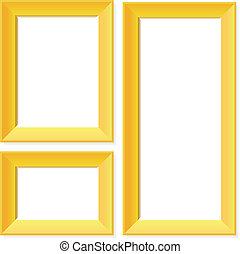 bordas, dourado, em branco