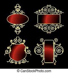 bordas, dourado, ferro forjado