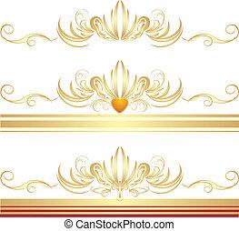 bordas, dourado, três, ornamentos