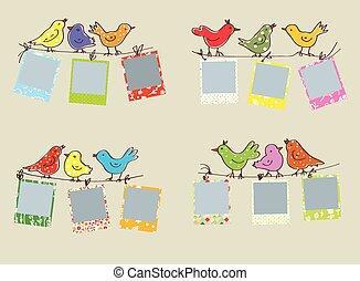 bordas, ENGRAÇADO, padrões, Pássaros, foto