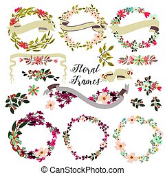 bordas, flores, grande, floral, jogo, mão, desenhado