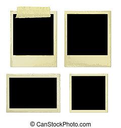 bordas, foto, antigas, (vector)