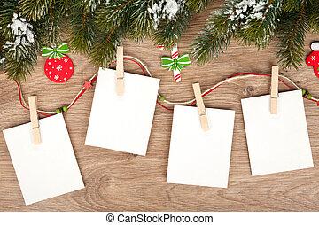 bordas, foto, natal, em branco
