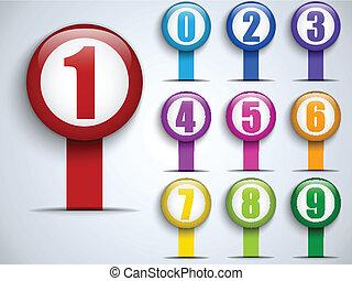 bordas, jogo, números, coloridos
