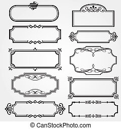 bordas, jogo, ornate, vetorial