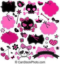 bordas, moça, crânios, cute