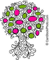 bordas, ornamental, desenho, árvore, seu
