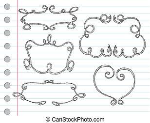 bordas, ornamental, mão, desenhado