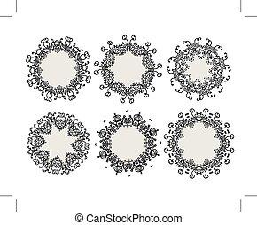 bordas, ornamental, projeto fixo, seu