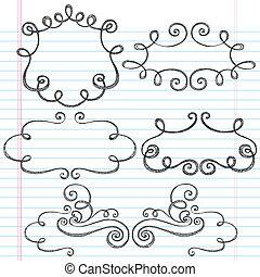 bordas, ornamental, sketchy, doodle