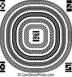 bordas, ornamental, vetorial, seamless