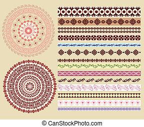 bordas, padrões, jogo, arabesques, redondo