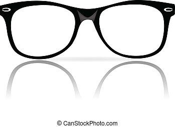 bordas, pretas, óculos