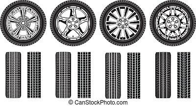 bordas roda, -, pneus, trilhas, liga