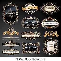 bordas, set., vetorial, etiquetas, ornamental