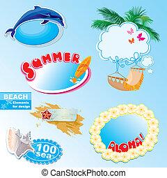 bordas, verão, elementos, praia