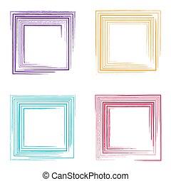 bordas, vetorial, grunge, coloridos, quadrado