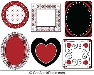 bordas, vetorial, seis, valentine