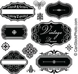 bordas, vindima, fantasia, ornamentos