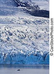 borde, glaciar, hielo, meridional, fjallsjokull, islandia, gorra