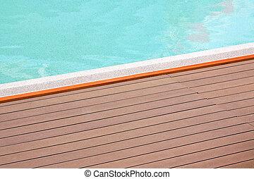 borde, piscina, natación