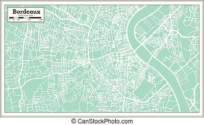Bordeaux France City Map in Retro Style. Outline Map. Vector Illustration.