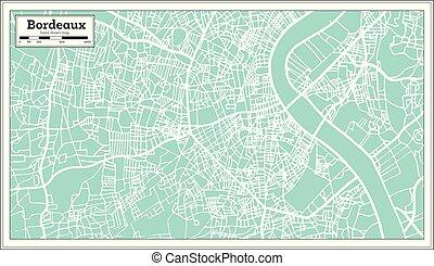 bordeaux, francia, mappa urbana, in, retro, style.