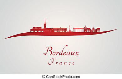 bordeaux, orizzonte, in, rosso