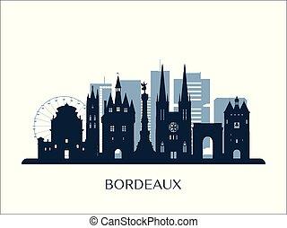 bordeaux, orizzonte, monocromatico, silhouette.