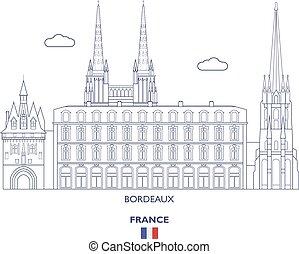 bordeaux, skyline città, francia