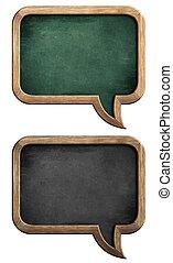 borden, of, chalkboards, set, in vorm, van, tekstballonetje, vrijstaand, op wit, met, knippend pad, included