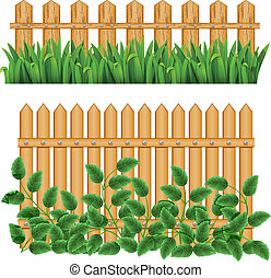 Border and fence. - Border with fence and grass green. (can...