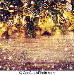 Border art design with Christmas tree, baubles and light garland