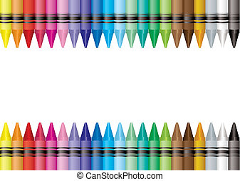 border crayon - Brightly colored crayon border with room to...