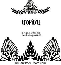 Border design of flowers, pattern unique frame, for banner tropical. Vector