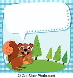 Border design squirrel and acorn