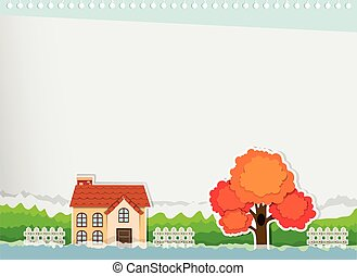 Border design with a house