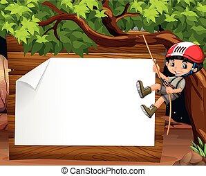 Border design with boy climbing the tree