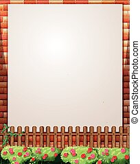 Border design with brick wall and fence