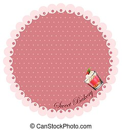 Border design with cake in glass
