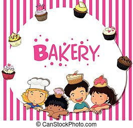 Border design with children and bakery illustration