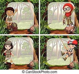 Border design with children in the jungle