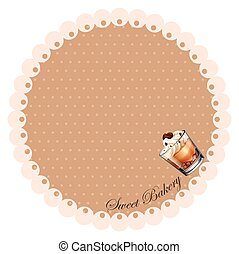 Border design with chocolate cake in glass