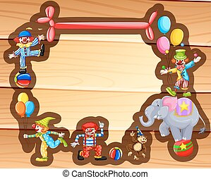Border design with clowns and balloons
