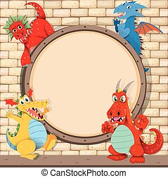 Border design with dragons on brick wall