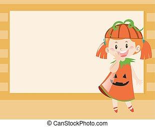 Border design with girl in pumpkin costume